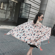 KYQIAO Designer head scarf 2017 women winter scarf female autumn sweet cute long bird print scarf muffler cape shawl(China)