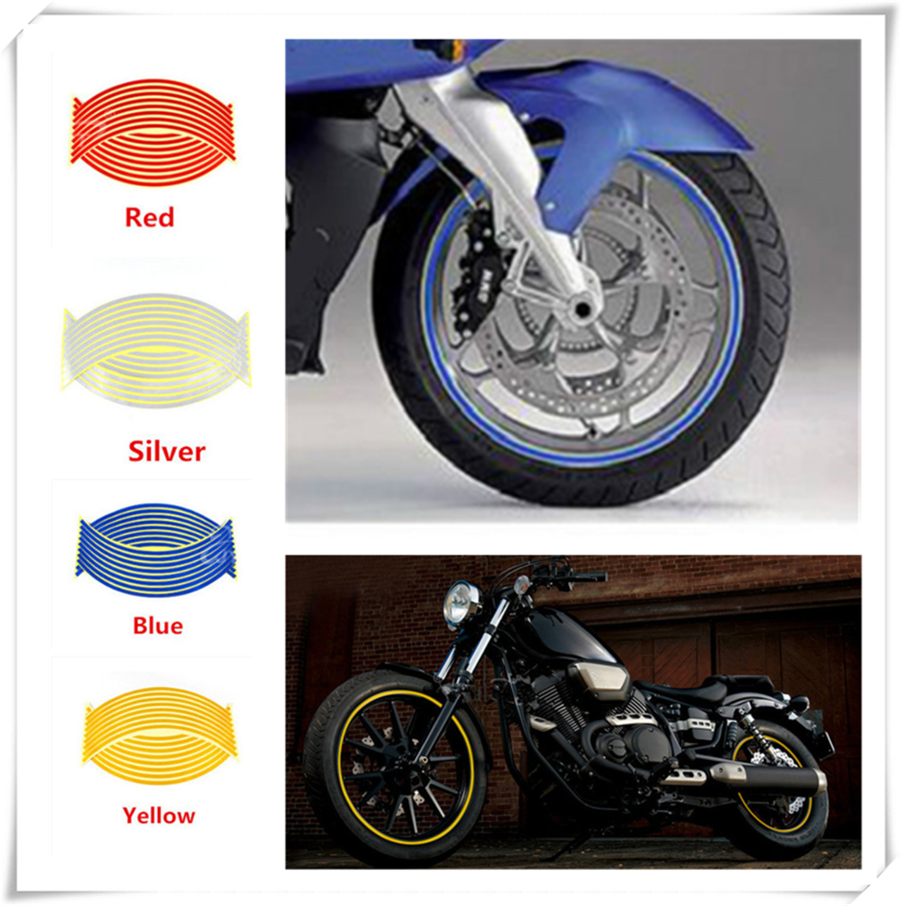 Motorcycle modeling wheel sticker reflective applique edge tape for SUZUKI GSF600 Bandit GS1000 GS500E GS550M GSX1100F Katana