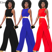 Uown New Elegant Jumpsuit for Women Sleeveless Trousers Long Pants Wide Leg Jumpsuits Dressy Runway Maxi Romper Overalls Female