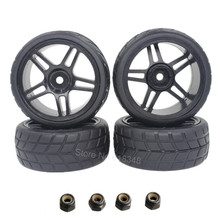 4Pcs/lot RC 1/10 On Road Tires & Wheel Rim Complete Hex 12mm Dia: 63mm Width:26mm For HSP HPI Himoto Redcat Model Car Touring