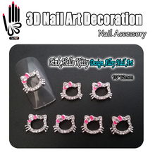 Art Nail 10pcs/Lot 3D Metal Pink Bow Hello Kitty Design Clear Rhinestone KT Cat Alloy Nail Art Decorations for Nail Jewelry(China)