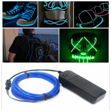 1/2/3/4/5M Flexible Neon Light Glow EL Wire Rope tube Cable Strip LED Neon Lights Shoes Clothing Car party decor Battery control