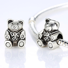 Hot Sale High Quality  Silver Bear Charm Beads Fit Original Pandora Bracelet Pendants For Women DIY Jewelry