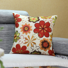 Embroidered Sofa Throw Pillow Covers Silk Sunflower Couch Decorative Pillow Cases Red Rustic Country Home Decor Cushion Cover(China)