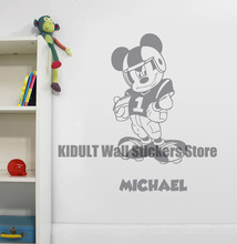 Mickey Mouse Cartoon Wall Stickers Baseball Shape Family Indoor Children's Bedroom Flat Wall Decor Wall Decals Multicolor