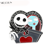 MQCHUN Movie Jewelry Scared Nightmare Before Christmas Skull Mark Fashion Pin Brooch Cosplay Gifts For Men Women Of Character(China)