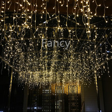 3.5M 96 LED Icicle Christmas Holiday Light 9.4ft LED Snowing curtain light Xmas Wedding Party Decoration(China)