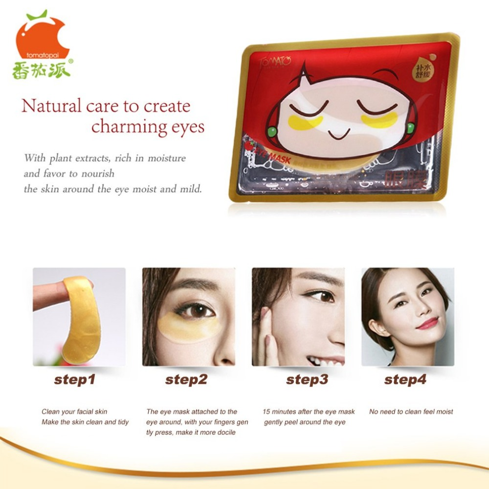 TOMATO PIE 140G Smooth Collagen Firming Moisturizing Eye Mask Gold Osmanthus Remove Dark Circles Skin Care Eye Masks Treatment 16
