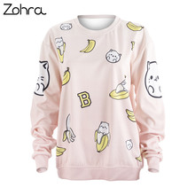 Zohra Fashion Vitality Pullover Sweatershirt Banana Kitty Printing Hoddies Cozy Sweet Women Sweatershirts