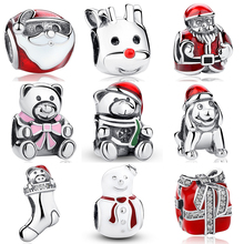 Santa Claus Nick Red Nosed Reindeer Teddy Bear Snowmen Gift Box Socks Christmas Charm Bead Fit Bracelet Necklace Jewerly