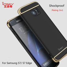 iPkay Luxury Matte for Samsung Galaxy S7 / S7 Edge Plating 3in1 Case Cover 3D Full Cover Curved Screen Protector Gift Shockproof