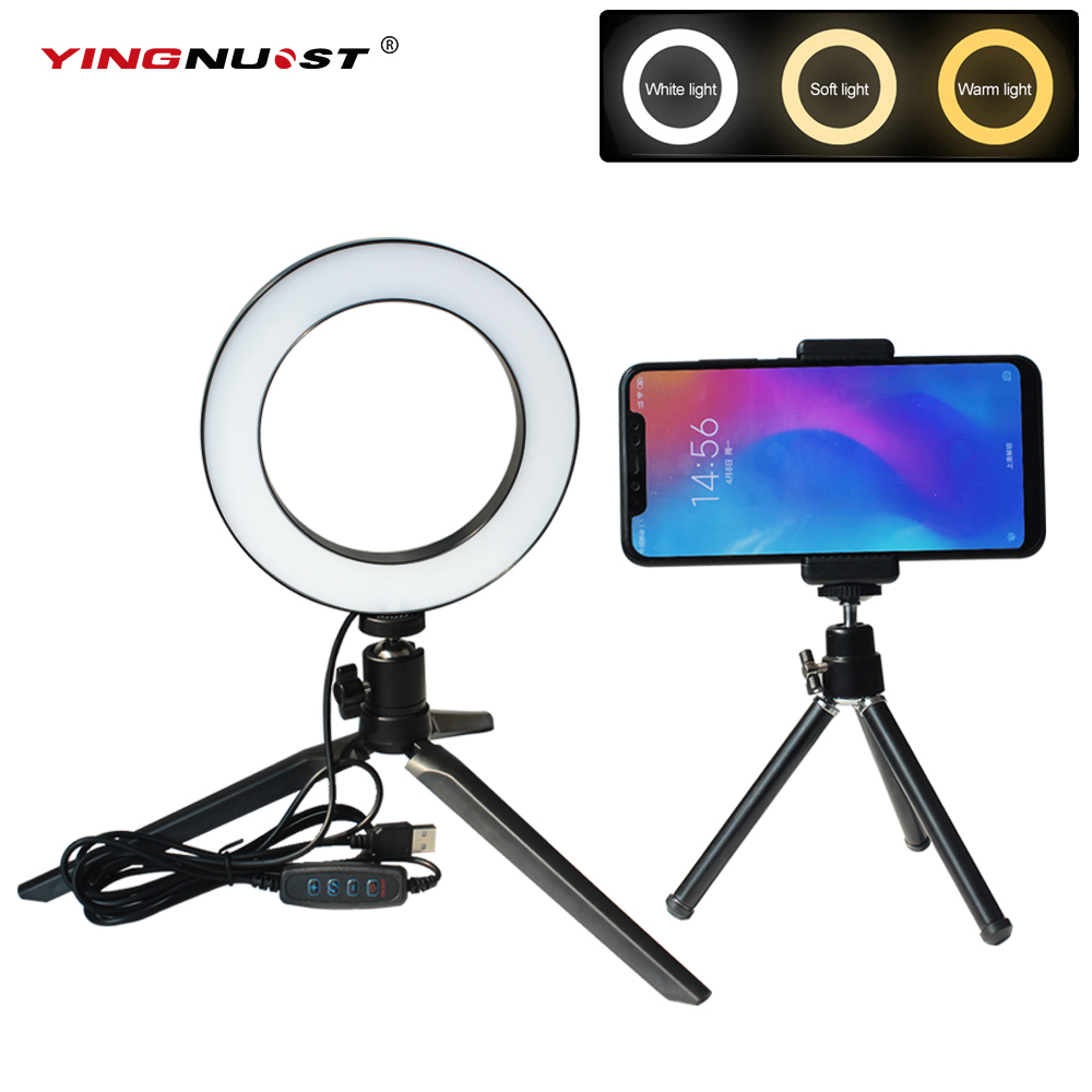 Ring Lights for Phones Bluetooth Tripod Selfie Stick With LED Ring Fill Light With Stand Lighting Kit for YouTube Video /& Streaming Color : White , Size : 6inch Desk Makeup Ring Light Dimmable