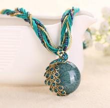 National wind restoring ancient jewelry pendants Bohemia necklace alloy ornaments peacock 17 colors mixed batch