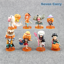 Cartoon Anime One Piece Luffy Zoro Nami Robin Sanji Chopper Halloween Ver. PVC Action Figure Model Toys Dolls 8pcs/lot Free Ship