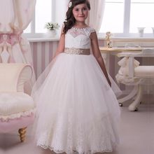 Flower Girl Dresses Ball Gown Jewel -neck Cap Sleeve Tulle Appliques Lace Button Back First Communion Dresses For Girls 2017