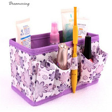 Makeup Cosmetic Storage Multifunction Box Bag Bright Organiser Printing Flower Foldable Stationary Container,Dec 12