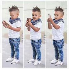 Retails Boys fashion summer clothing set 3pcs set(white shirt+scarf+denim jeans) stylish children's outfit Drop Shipping