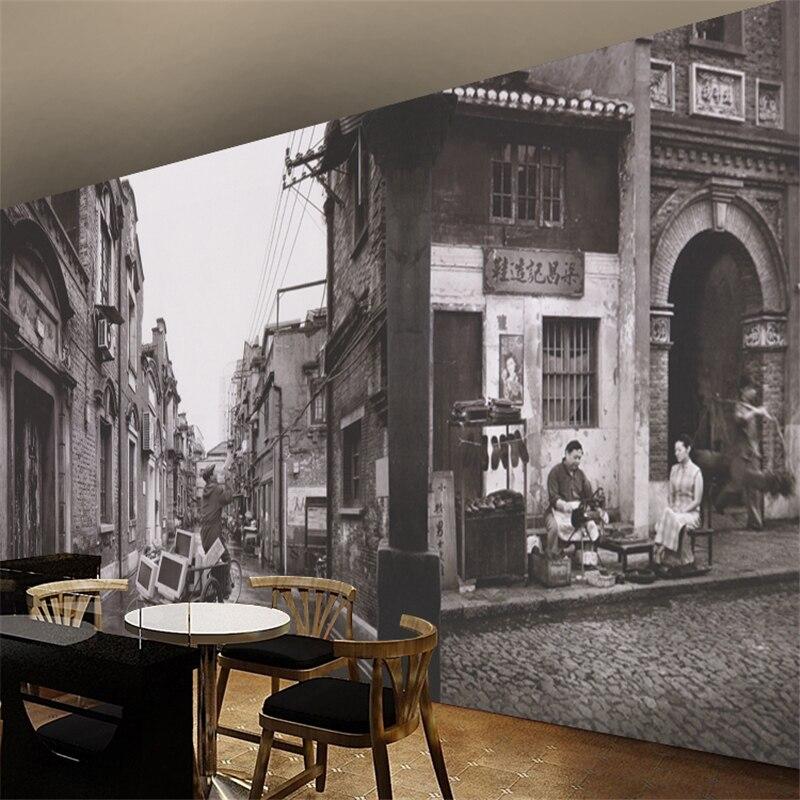 Custom photo wallpapers retro nostalgic street scene 3d stereo black and white background wallpaper old beach wallpaper murals<br><br>Aliexpress