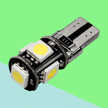 Wholesale High Quality T10 5 SMD 5050 LED Car Wedge Lights W5W 168 2825 5SMD 5 LED CANBUS Bulb NO OBC ERROR Auto Lamps(China)