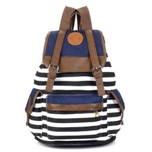 Cheap Products Women Girl Striped Canvas Backpack Leisure School Backpacks For Teenagers Travel Rucksack(China)