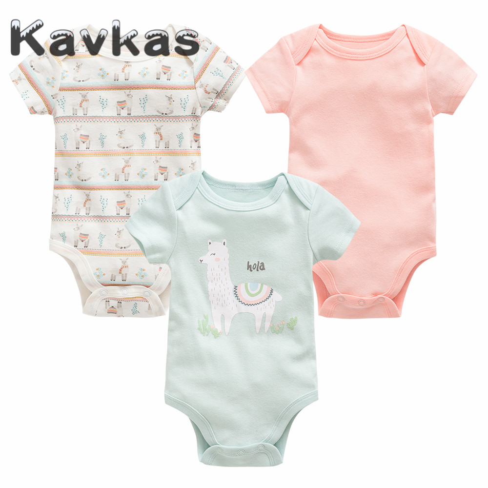 Alpaca Cartoon Animal Unisex Newborn Baby Rompers Short Sleeve Jumpsuit Toddler Outfits