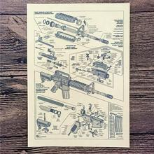 "XQ-171 back to the future kraft paper ""Machine gun principle diagram""home decor poster paintings for living room wall 42x30 cm"