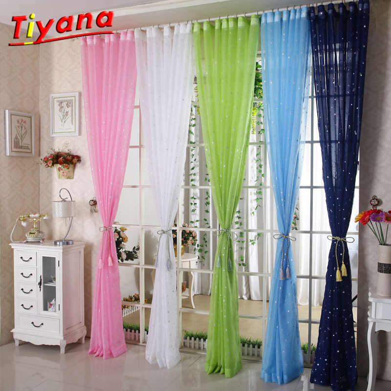 Star Gauze Screening Window Pink Blue Green Tulle Curtain Modern Fashion Fancy Tulle Sitting Room HOT SALE Kids' Room WP234*15