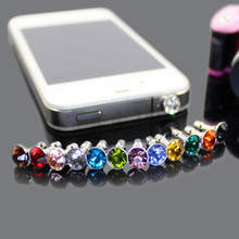 100pcs/Lot 3.5mm Earphone Jack Dust-proof Plug Cell Phone Accessories Universal Diamond Rhinestone Stopper Cap For Mobile Phone