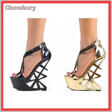 summer thin belt high heel platform sandals gold electric shoes thin black nightclub female singer performance suit sandals(China)