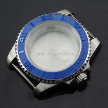 40mm Fit ETA 2836,DG2813/3804,Miyota 82 Series Movement Bliger Blue Bezel Silver Stainless Steel Watch Case