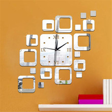 2017 Square Mirror Silver Wall Clock Modern Design Home Decor Watch Wall Sticker Silent quartz clock movement #0927 D(China)