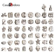 CasaPandora 50 Pieces Silver-colored Alloy Charms Fit Pandora Bracelet Snake Chain Bangle Pulseira Making Pingente Berloque