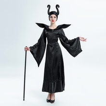 Maleficent Halloween Costumes for women Witch Cosplay Fairy Tale Sleeping Beauty Curse Witchcraft Black Dress Sexy Outfit(China)