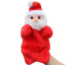 27CM cute Santa Claus Stuffed Dolls Storytelling Finger Even Hand Puppet toys For Baby's Gifts dropshipping suppliers Plush toy(China)