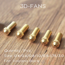 1Pc New Volcano 3D printer All metal brass E3D Lengthen extruder nozzle 0.4/0.6/0.8/1.0/1.2mm For 1.75/3mm supplies(China)