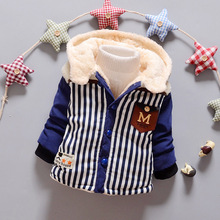 Retail 2016 new kids boys winter outerwear baby boys striped autumn hooded coat top quality thick wadded jacket/parkas child
