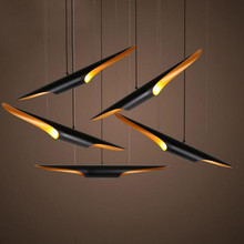 Country Style Double Oblique Mouth Aluminum Pipe Pendant LightS 60cm Bamboo Shape Creative Restaurant Bar Cafe Led Hanging Lamp