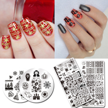 BORN PRETTY Festival Series Nail Stamping Plate Christmas Halloween Valentine Celebration Round Rectangle Nail Image Template