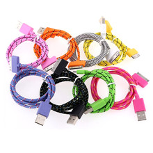 Good Quality 1m Braided Flat 30 pin USB Data Sync Charging Charger Cable Cord For iPhone 4 4S 3G Free Shipping