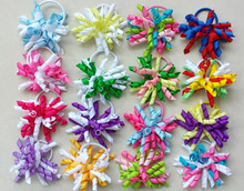 "16pcs 3.5"" korker ponytail hair ties holders streamer corker hair bows clip Cheer Bows Curly Ribbon Bow hair bobbles PD006(China)"