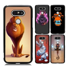Favourite Cute Cartoon Case for LG G5 Fierce Rabbit Kung Fu Monkey Play Cool Lion Painted TPU PC Cover Case for LG G6(China)