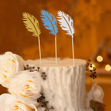 New 6pcs/set Golden/Slivery Paper Glitter Feather Cupcake Topper Birthday Party Cake Toppers Cake Decoration Free Shipping 3010(China)