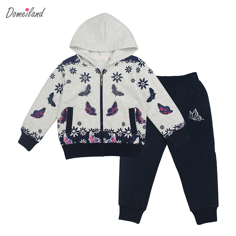 2017 spring brand domeiland Children clothing sets sport girl long sleeve sweater hooded bow jackets clothes pants tracksuits<br>