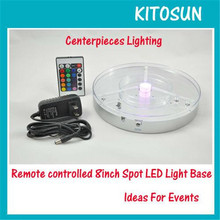 Super Bright Rechargeable Battery Operated IR Remote Controlled Color Changeable RGB Spot LED Light Base for Wedding Reception