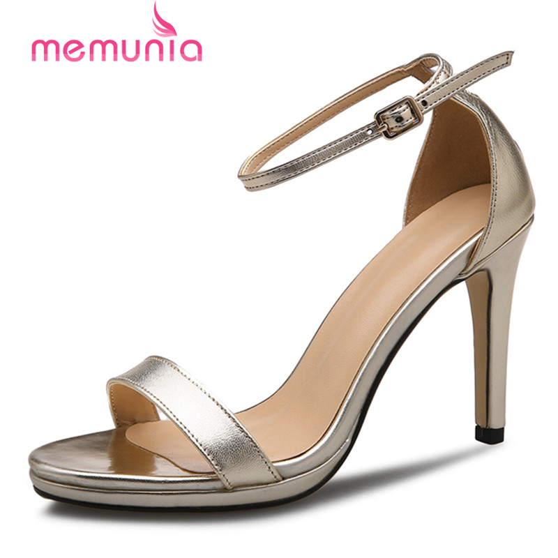 MEMUNIA Two colors genuine leather shoes woman fashion elegant party shoes in summer sandals women spuer high<br>
