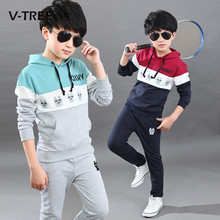 2017 Spring Boys Clothing Sets Fashion Kids Children's Sports Suits Teenage School Boys Hoodies Pants Suit Sets 10 12 Years