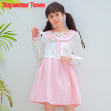 Lolita Dress Sweet Girls Harajuku Cute Cat Ear Pink Dress Sailor Collar Navy Style Long Sleeve Dress Mori Girls(China)