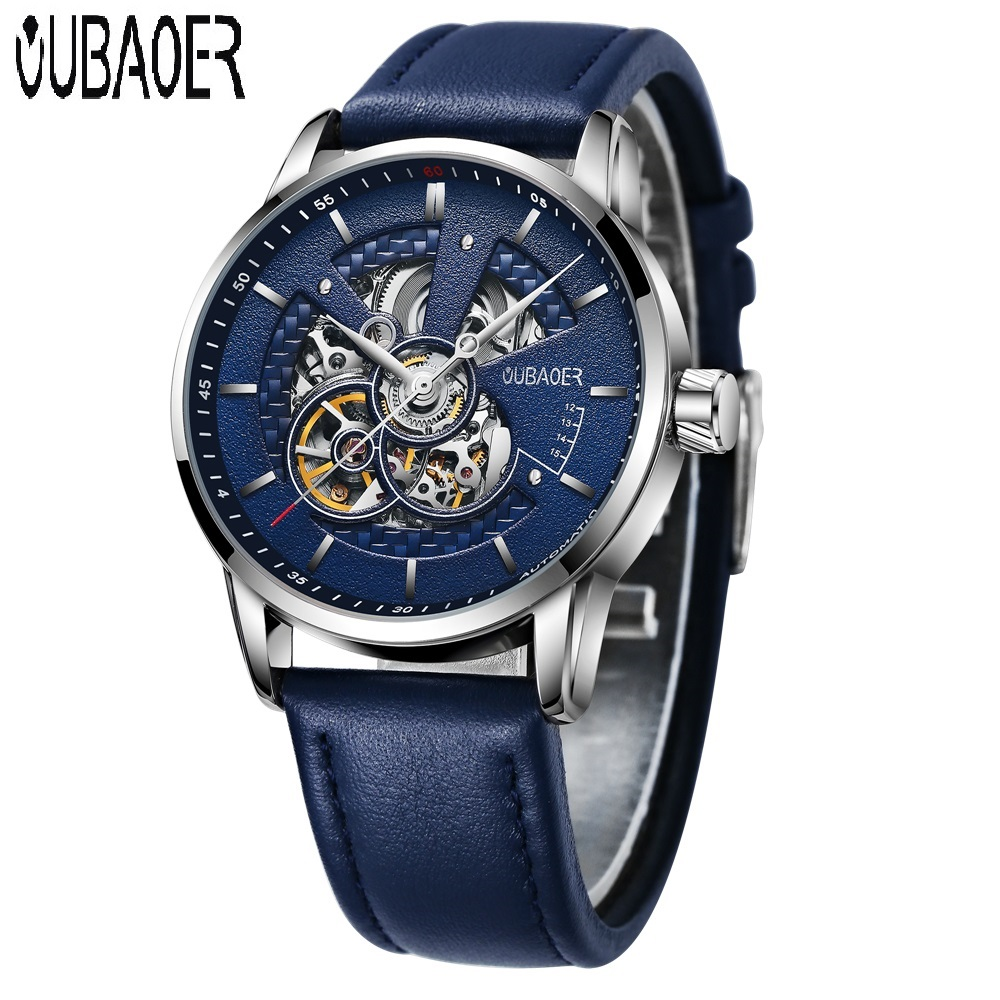 OUBAOER Automatic Watches Men Luxury Brand Mechanical Watches for Men Waterproof Business Classic Genuine Leather Mens Clock<br>