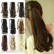 "24"" Synthetic Hair Long Wavy Clip In Ribbon Ponytail Hair Extensions curly Hairpiece Fake Hair pony Tails ponytails hair pieces"