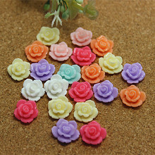 50pcs 12mm Mix Colors Resin Flower Flatback Cabochon for DIY jewelry/phone decoration